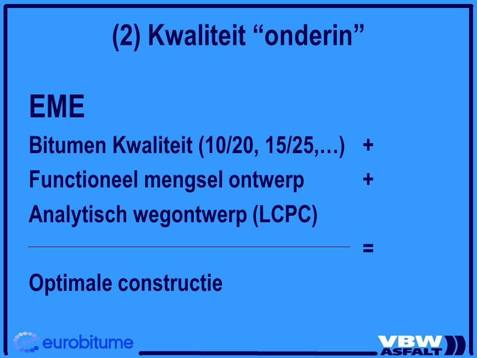 """(2) Kwaliteit """"onderin"""" EME Bitumen Kwaliteit (10/20, 15/25,…) + Functioneel mengsel ontwerp + Analytisch wegontwerp (LCPC) = Optimale constructie"""