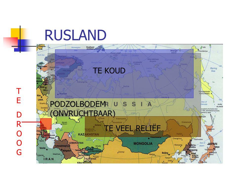 RUSLAND PODZOLBODEM (ONVRUCHTBAAR) TE KOUD TE VEEL RELIËF TEDROOGTEDROOG