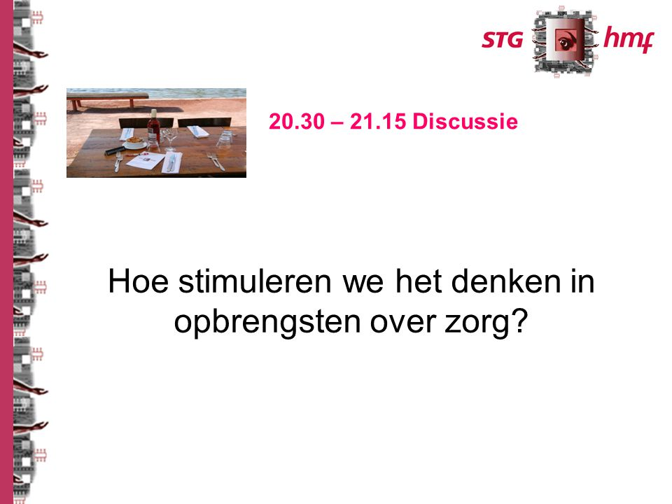 Hoe stimuleren we het denken in opbrengsten over zorg? 20.30 – 21.15 Discussie