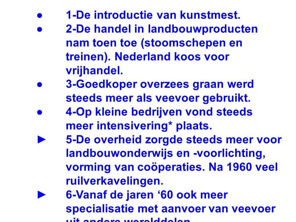 ● 1-De introductie van kunstmest. ● 2-De handel in landbouwproducten nam toen toe (stoomschepen en treinen). Nederland koos voor vrijhandel. ● 3-Goedk