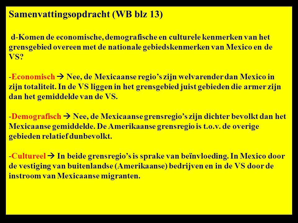 Samenvattingsopdracht (WB blz 13) d-Komen de economische, demografische en culturele kenmerken van het grensgebied overeen met de nationale gebiedsken