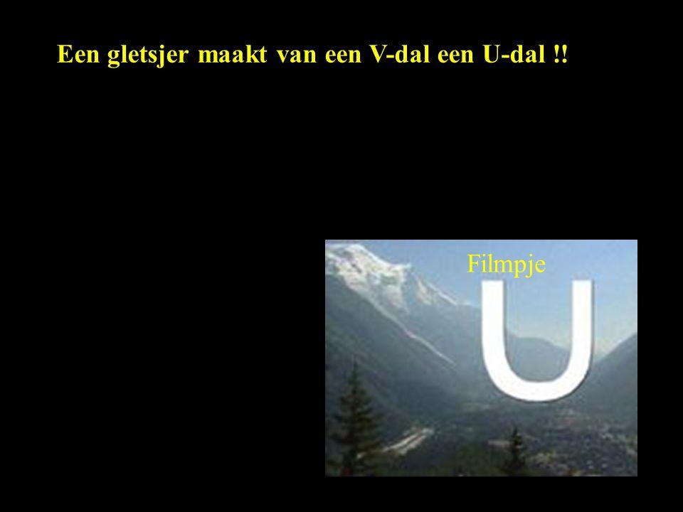 Een gletsjer maakt van een V-dal een U-dal !! Filmpje