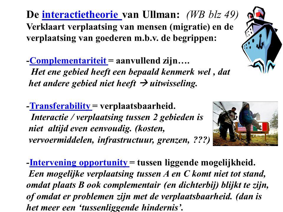 De interactietheorie van Ullman: (WB blz 49) Verklaart verplaatsing van mensen (migratie) en de verplaatsing van goederen m.b.v. de begrippen:interact