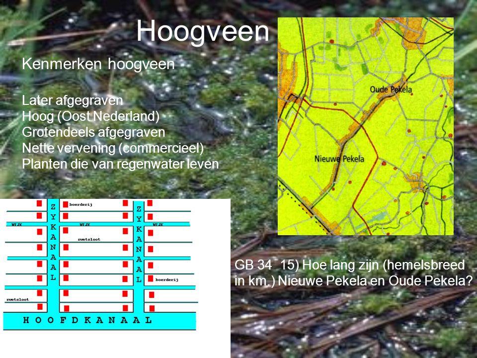 Hoogveen Kenmerken hoogveen Later afgegraven Hoog (Oost Nederland) Grotendeels afgegraven Nette vervening (commercieel) Planten die van regenwater lev