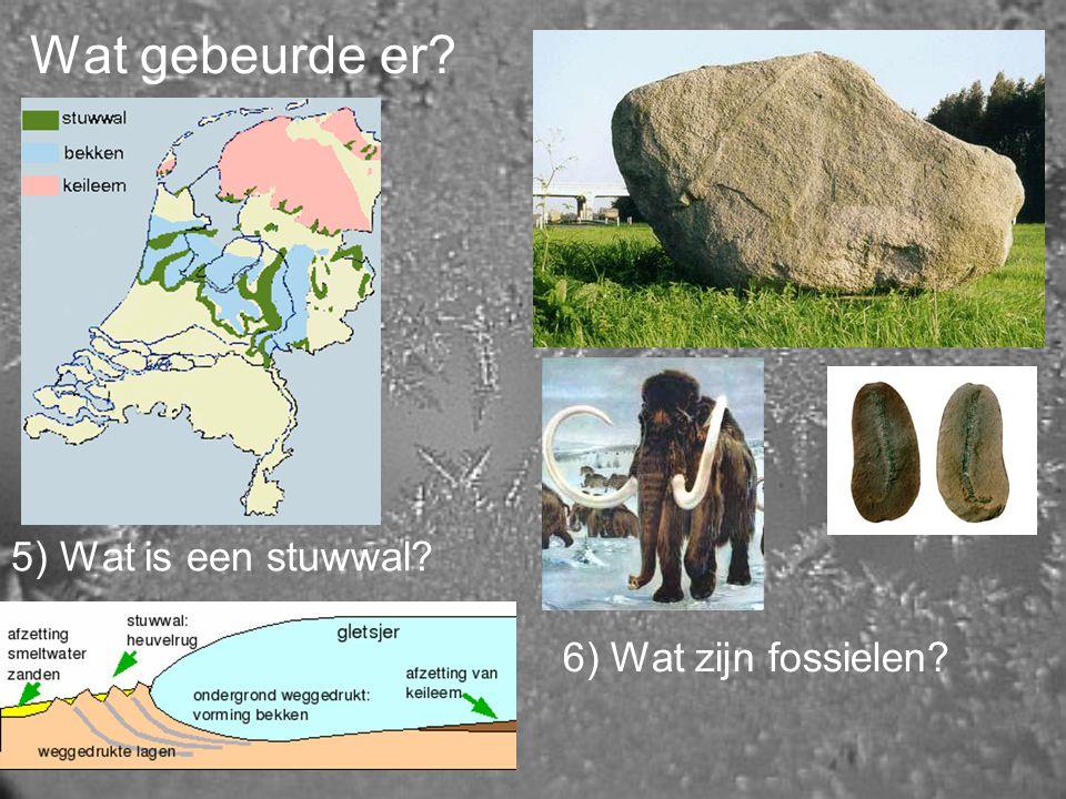 Wat gebeurde er? 5) Wat is een stuwwal? 6) Wat zijn fossielen?