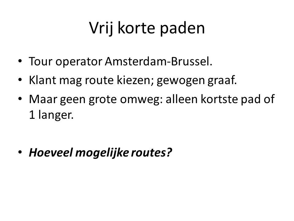 Vrij korte paden Tour operator Amsterdam-Brussel. Klant mag route kiezen; gewogen graaf.
