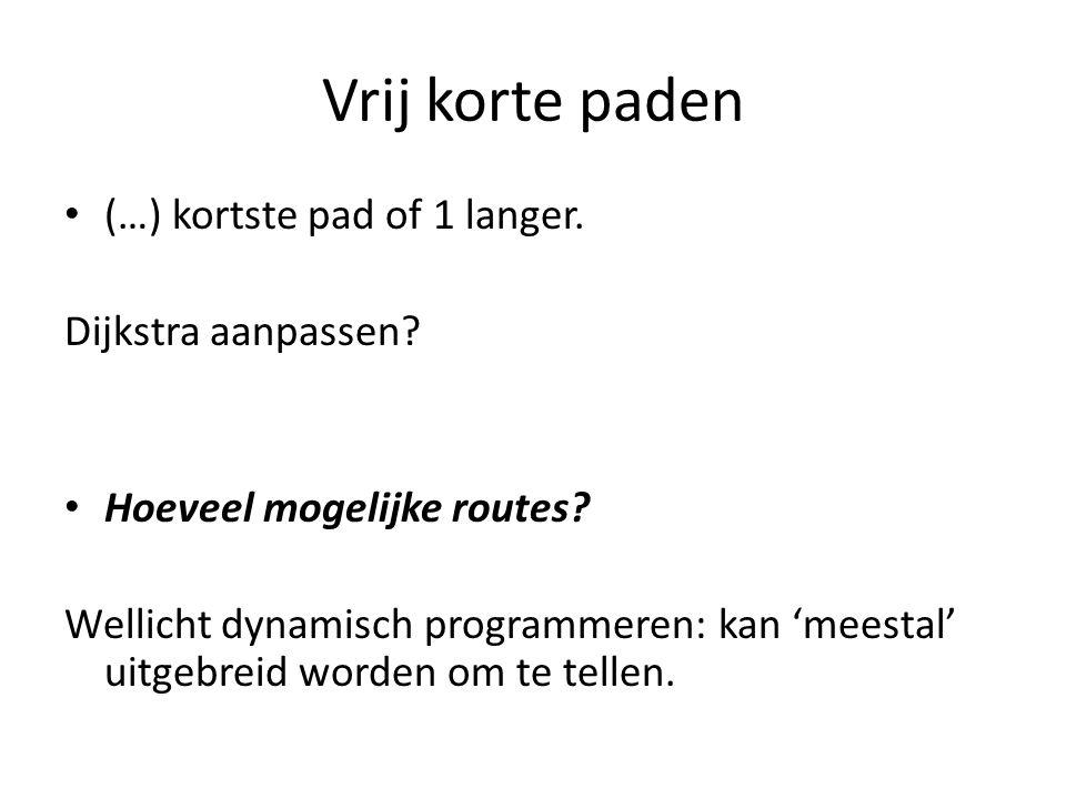 Vrij korte paden (…) kortste pad of 1 langer.Dijkstra aanpassen.