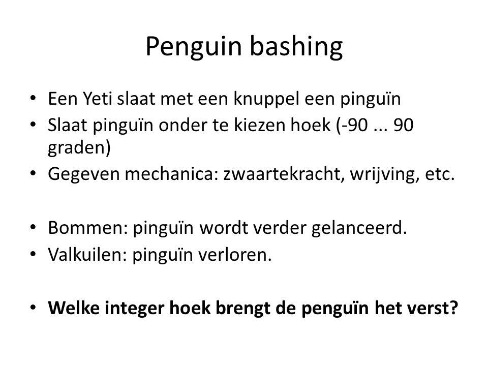 Penguin bashing Een Yeti slaat met een knuppel een pinguïn Slaat pinguïn onder te kiezen hoek (-90...