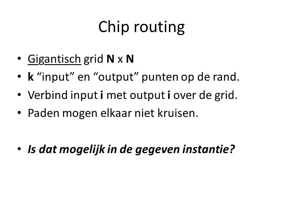 Chip routing Gigantisch grid N x N k input en output punten op de rand.