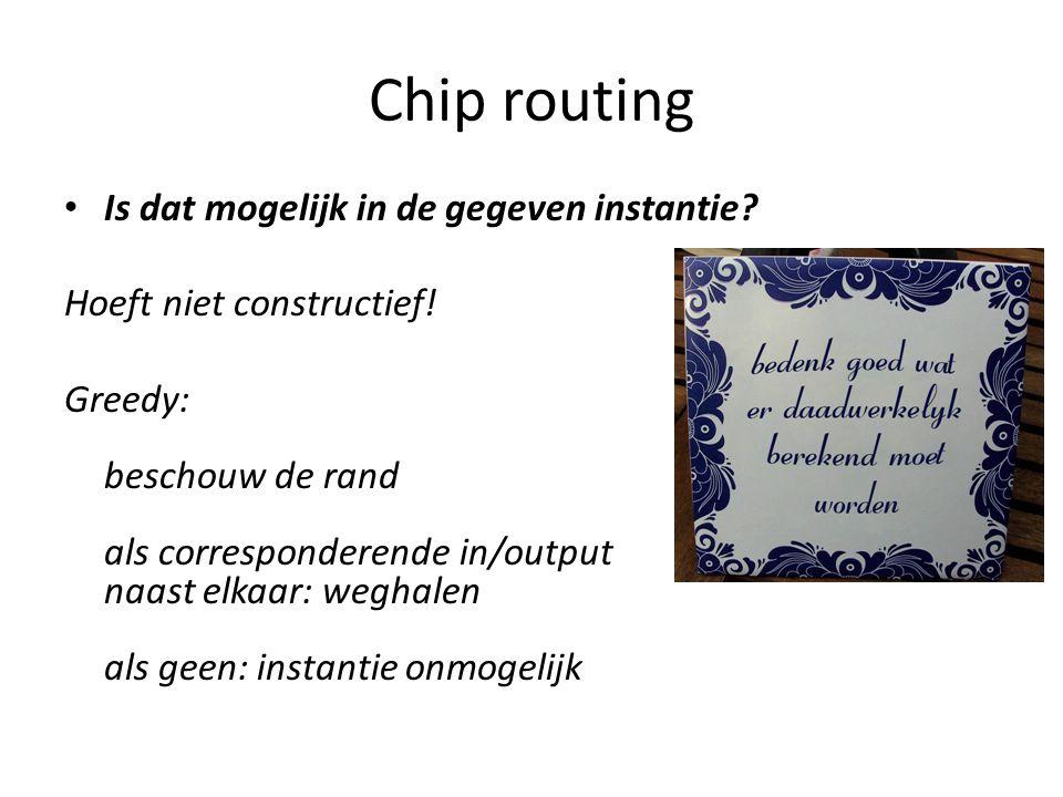 Chip routing Is dat mogelijk in de gegeven instantie.