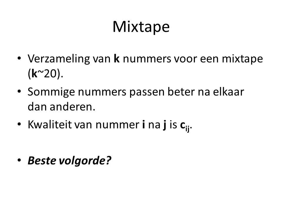 Mixtape Verzameling van k nummers voor een mixtape (k~20).