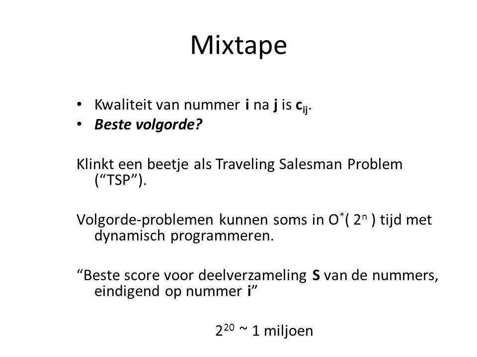 Mixtape Kwaliteit van nummer i na j is c ij. Beste volgorde.