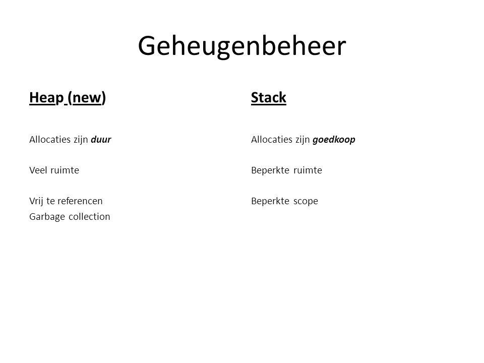 Geheugenbeheer Heap (new) Allocaties zijn duur Veel ruimte Vrij te referencen Garbage collection Stack Allocaties zijn goedkoop Beperkte ruimte Beperkte scope