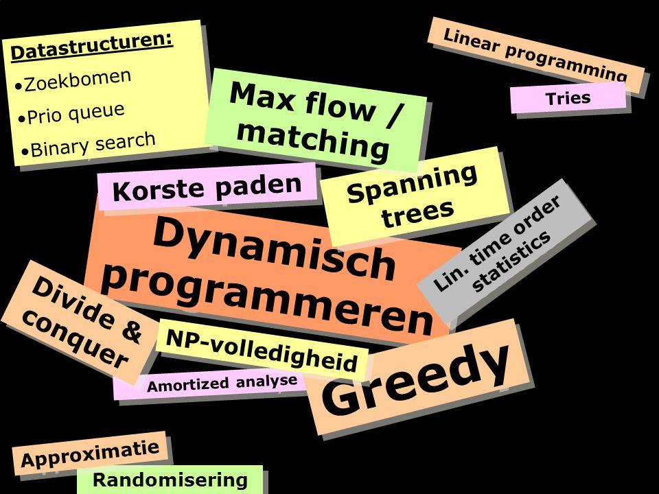 Amortized analyse Dynamisch programmeren Korste paden Spanning trees Lin.