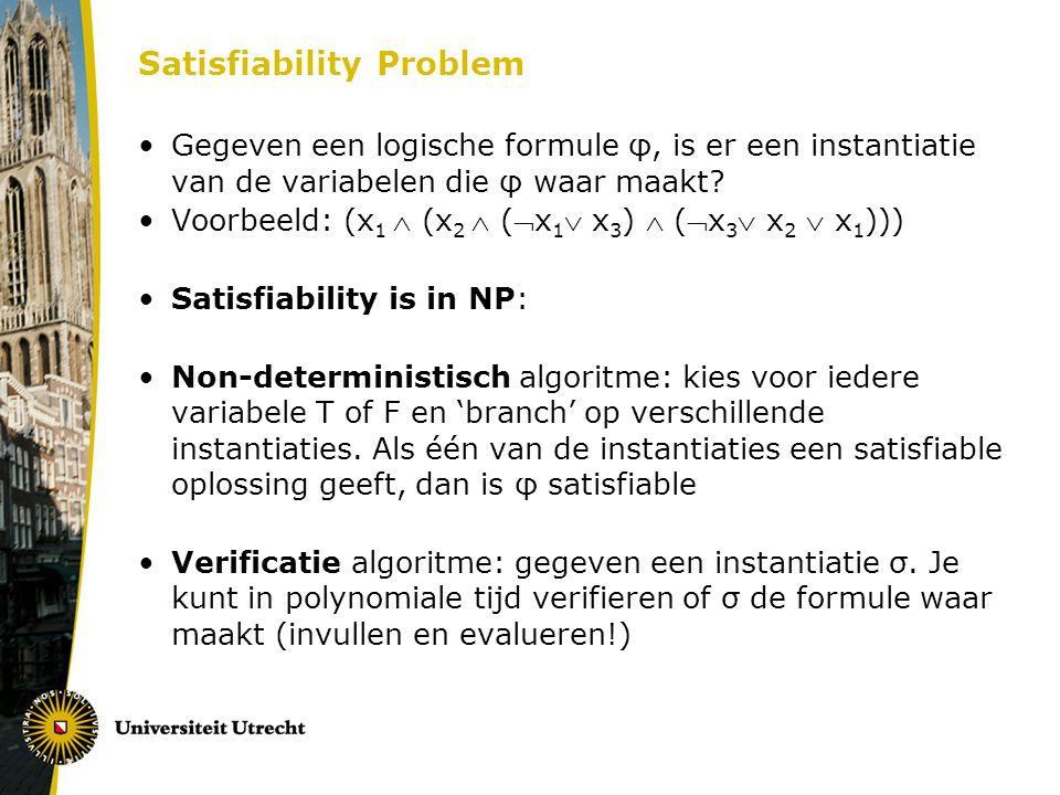 Satisfiability Problem Gegeven een logische formule φ, is er een instantiatie van de variabelen die φ waar maakt? Voorbeeld: (x 1  (x 2  (x 1  x 3
