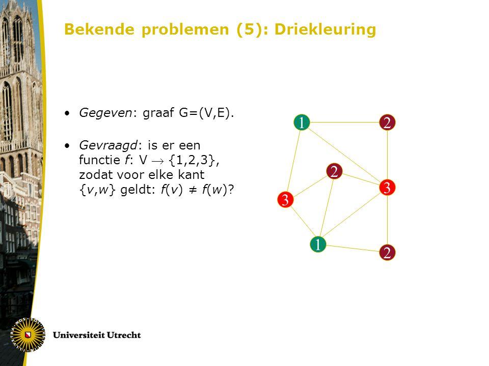 Bekende problemen (5): Driekleuring 12 3 2 1 3 2 Gegeven: graaf G=(V,E). Gevraagd: is er een functie f: V  {1,2,3}, zodat voor elke kant {v,w} geldt: