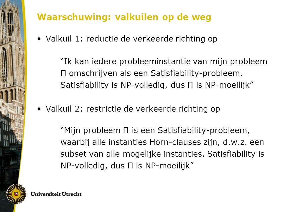 """Waarschuwing: valkuilen op de weg Valkuil 1: reductie de verkeerde richting op """"Ik kan iedere probleeminstantie van mijn probleem Π omschrijven als ee"""
