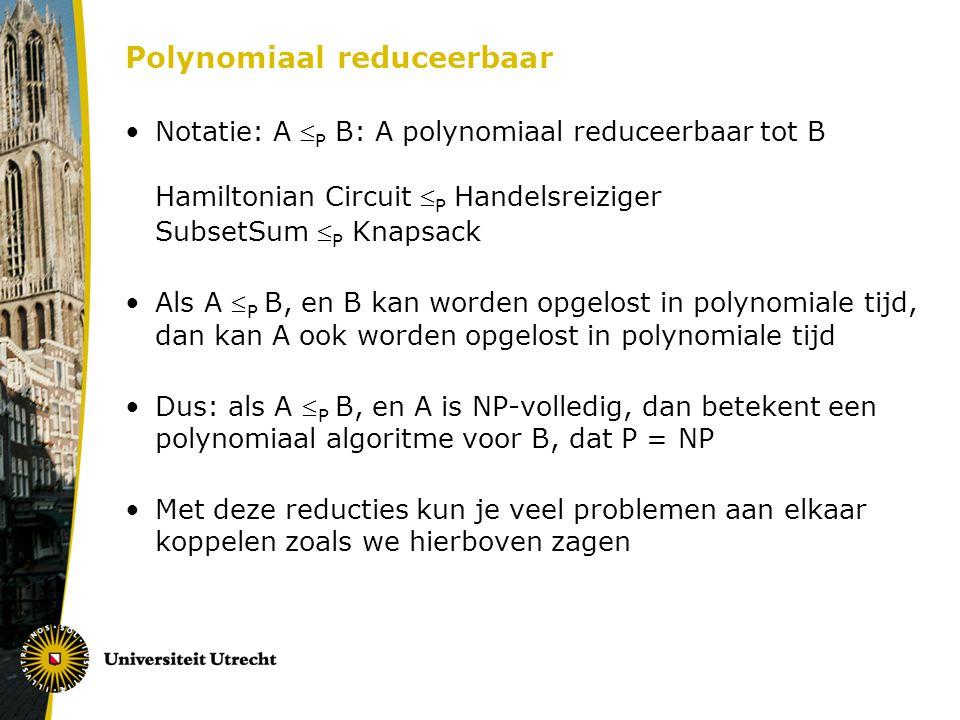 Polynomiaal reduceerbaar Notatie: A  P B: A polynomiaal reduceerbaar tot B Hamiltonian Circuit  P Handelsreiziger SubsetSum  P Knapsack Als A  P B, en B kan worden opgelost in polynomiale tijd, dan kan A ook worden opgelost in polynomiale tijd Dus: als A  P B, en A is NP-volledig, dan betekent een polynomiaal algoritme voor B, dat P = NP Met deze reducties kun je veel problemen aan elkaar koppelen zoals we hierboven zagen