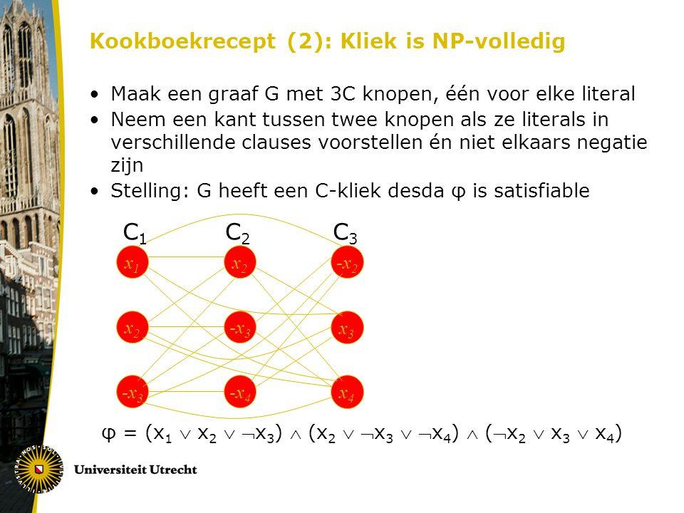 Kookboekrecept (2): Kliek is NP-volledig Maak een graaf G met 3C knopen, één voor elke literal Neem een kant tussen twee knopen als ze literals in ver