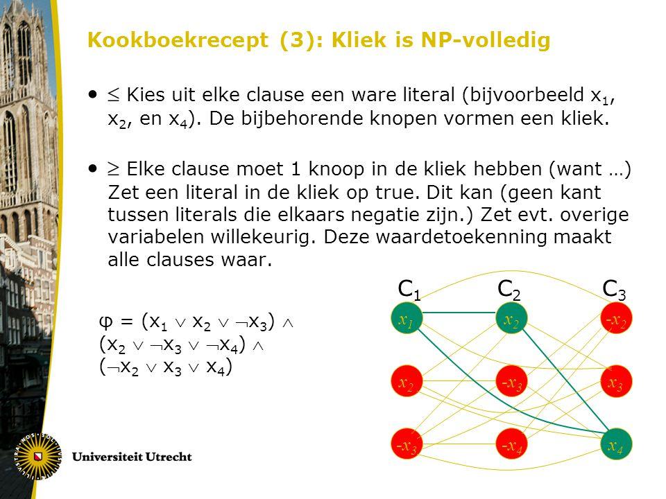 Kookboekrecept (3): Kliek is NP-volledig  Kies uit elke clause een ware literal (bijvoorbeeld x 1, x 2, en x 4 ). De bijbehorende knopen vormen een k