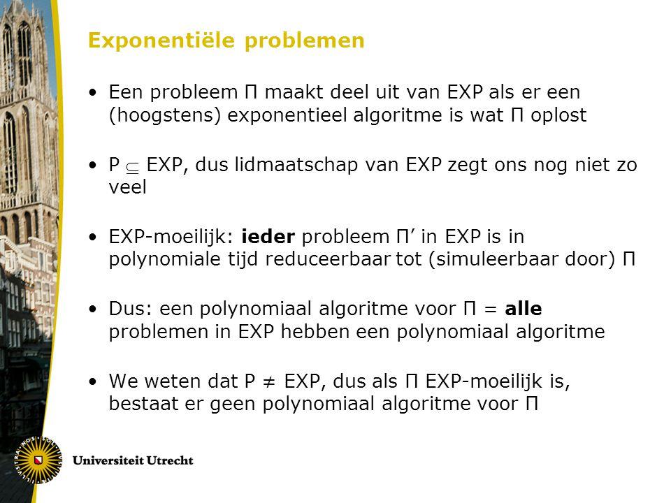 Exponentiële problemen Een probleem Π maakt deel uit van EXP als er een (hoogstens) exponentieel algoritme is wat Π oplost P  EXP, dus lidmaatschap van EXP zegt ons nog niet zo veel EXP-moeilijk: ieder probleem Π' in EXP is in polynomiale tijd reduceerbaar tot (simuleerbaar door) Π Dus: een polynomiaal algoritme voor Π = alle problemen in EXP hebben een polynomiaal algoritme We weten dat P ≠ EXP, dus als Π EXP-moeilijk is, bestaat er geen polynomiaal algoritme voor Π