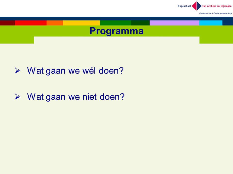 Programma  Wat gaan we wél doen?  Wat gaan we niet doen?