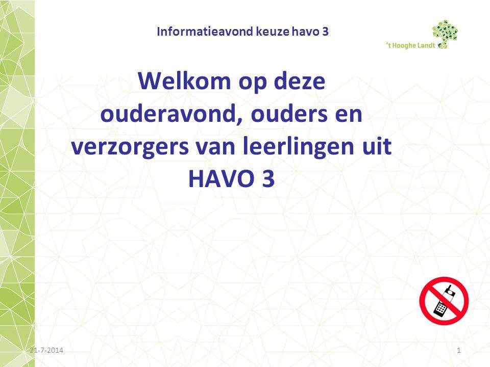 21-7-20141 Informatieavond keuze havo 3 Welkom op deze ouderavond, ouders en verzorgers van leerlingen uit HAVO 3