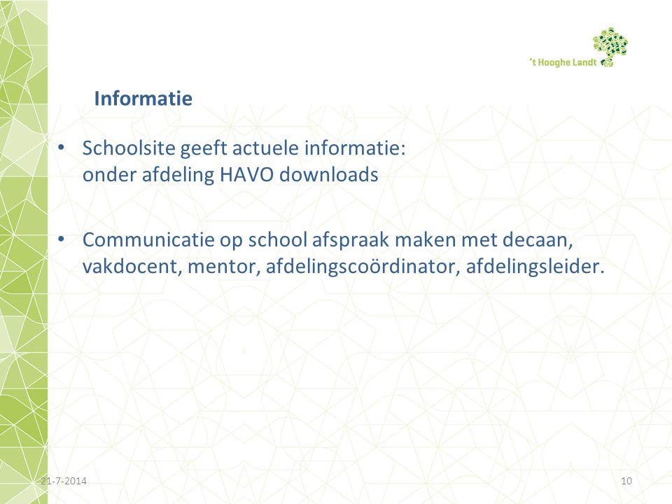 Schoolsite geeft actuele informatie: onder afdeling HAVO downloads Communicatie op school afspraak maken met decaan, vakdocent, mentor, afdelingscoörd