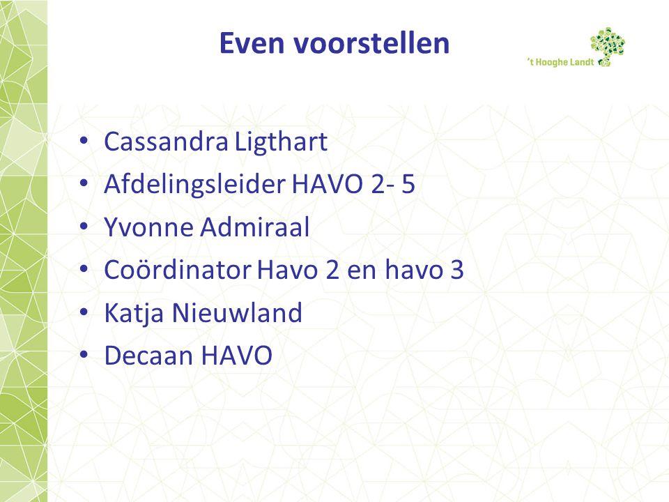 Even voorstellen Cassandra Ligthart Afdelingsleider HAVO 2- 5 Yvonne Admiraal Coördinator Havo 2 en havo 3 Katja Nieuwland Decaan HAVO