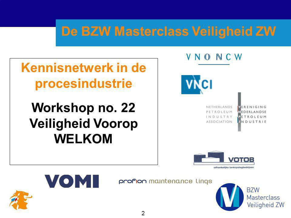 2 Kennisnetwerk in de procesindustrie Workshop no. 22 Veiligheid Voorop WELKOM De BZW Masterclass Veiligheid ZW
