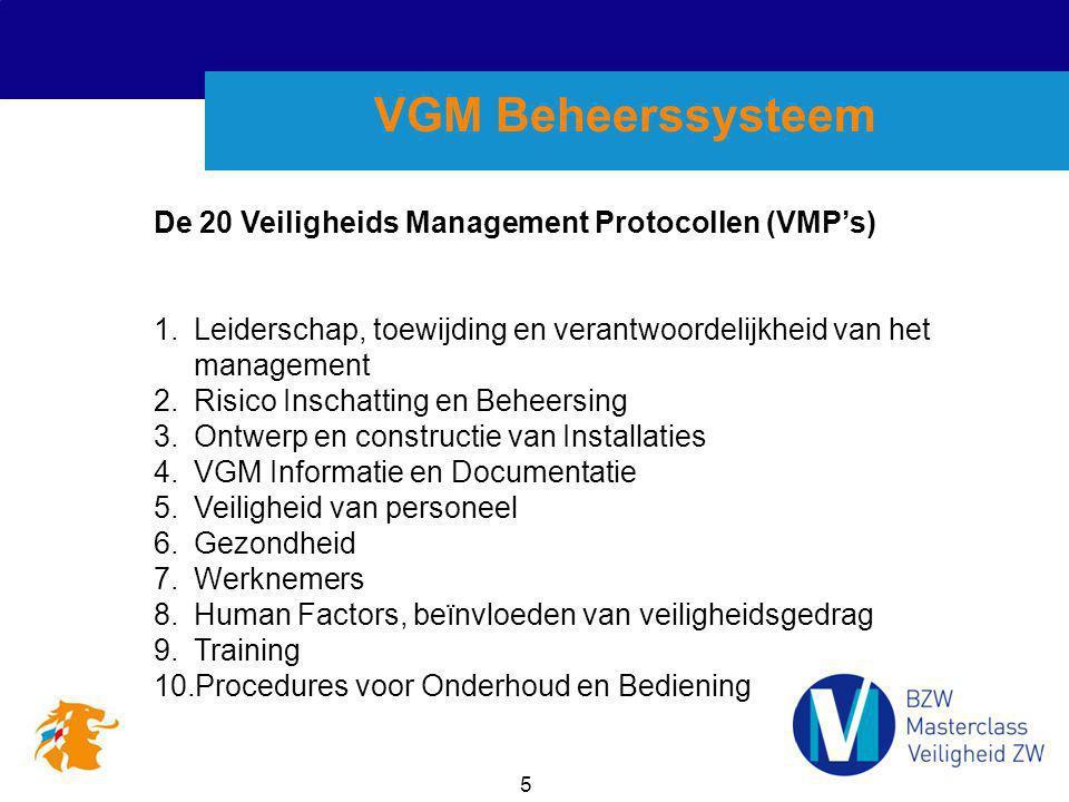 5 VGM Beheerssysteem De 20 Veiligheids Management Protocollen (VMP's) 1.Leiderschap, toewijding en verantwoordelijkheid van het management 2.Risico In