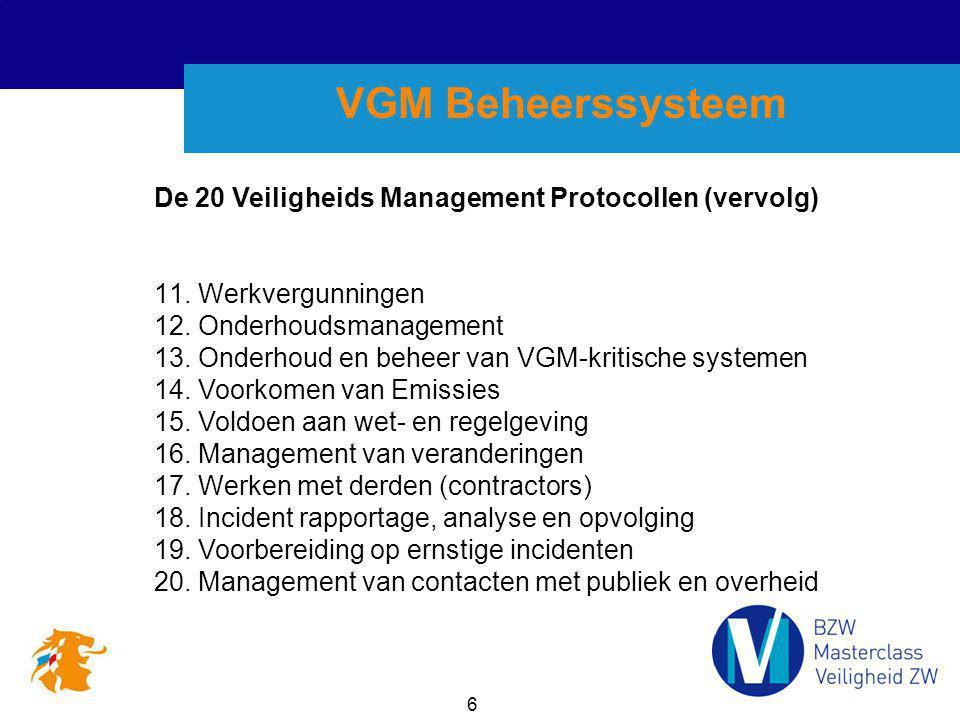6 VGM Beheerssysteem 11. Werkvergunningen 12. Onderhoudsmanagement 13. Onderhoud en beheer van VGM-kritische systemen 14. Voorkomen van Emissies 15. V