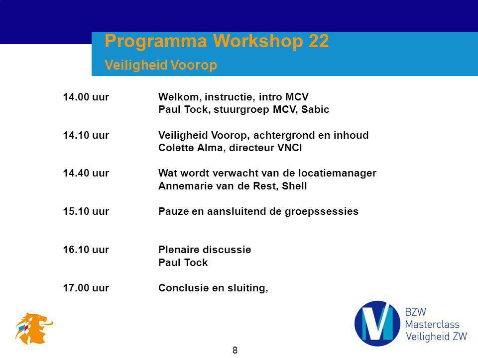8 14.00 uurWelkom, instructie, intro MCV Paul Tock, stuurgroep MCV, Sabic 14.10 uurVeiligheid Voorop, achtergrond en inhoud Colette Alma, directeur VN