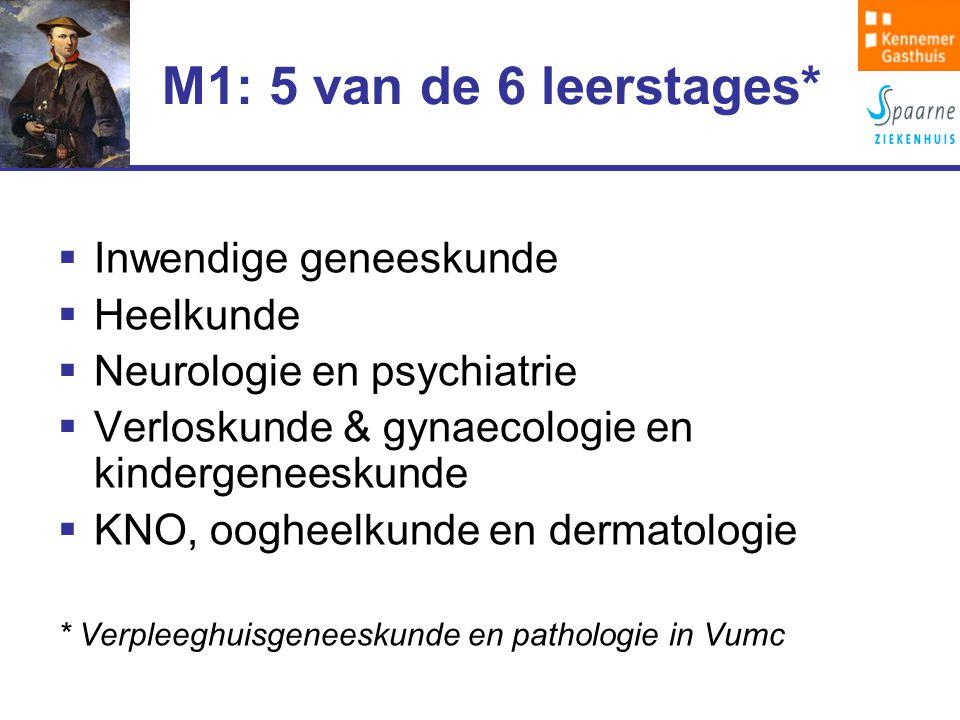 M1: 5 van de 6 leerstages*  Inwendige geneeskunde  Heelkunde  Neurologie en psychiatrie  Verloskunde & gynaecologie en kindergeneeskunde  KNO, oogheelkunde en dermatologie * Verpleeghuisgeneeskunde en pathologie in Vumc