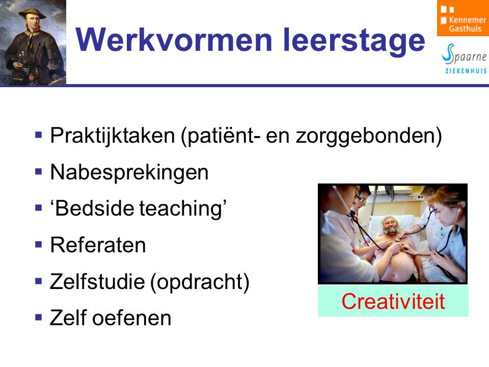 Werkvormen leerstage  Praktijktaken (patiënt- en zorggebonden)  Nabesprekingen  'Bedside teaching'  Referaten  Zelfstudie (opdracht)  Zelf oefenen Creativiteit