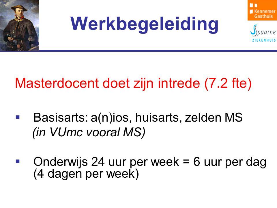 Werkbegeleiding Masterdocent doet zijn intrede (7.2 fte)  Basisarts: a(n)ios, huisarts, zelden MS (in VUmc vooral MS)  Onderwijs 24 uur per week = 6 uur per dag (4 dagen per week)