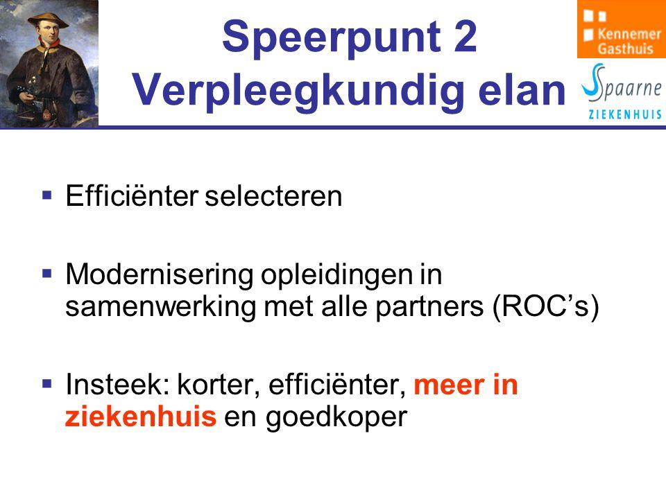 Speerpunt 2 Verpleegkundig elan  Efficiënter selecteren  Modernisering opleidingen in samenwerking met alle partners (ROC's)  Insteek: korter, efficiënter, meer in ziekenhuis en goedkoper
