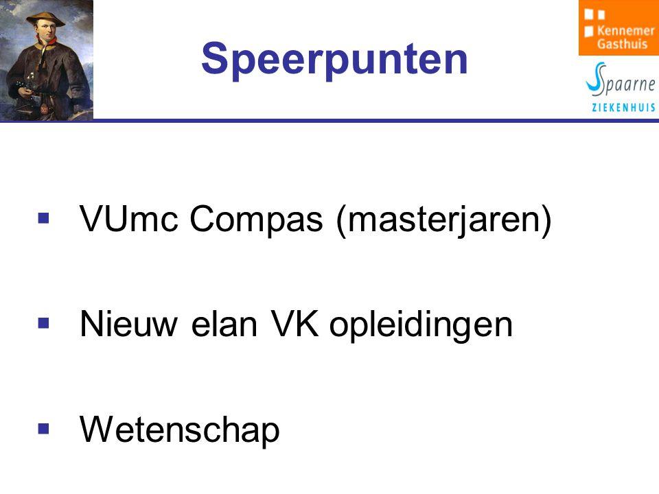  VUmc Compas (masterjaren)  Nieuw elan VK opleidingen  Wetenschap Speerpunten