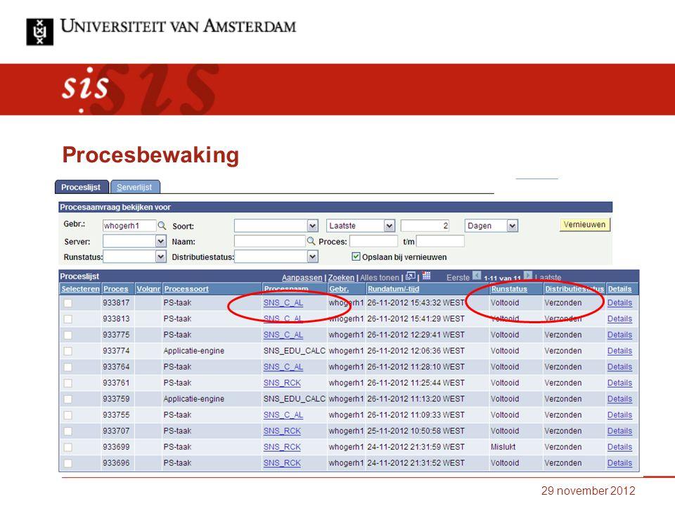 29 november 2012 Procesbewaking