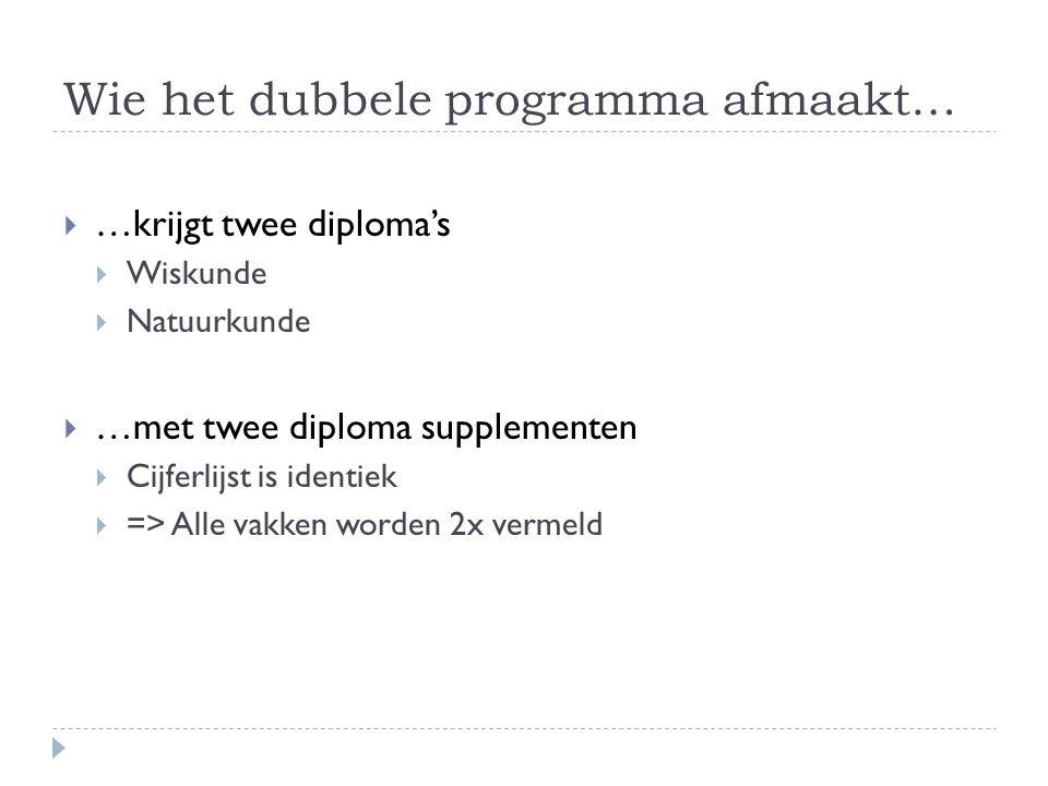 Wie het dubbele programma afmaakt…  …krijgt twee diploma's  Wiskunde  Natuurkunde  …met twee diploma supplementen  Cijferlijst is identiek  => Alle vakken worden 2x vermeld