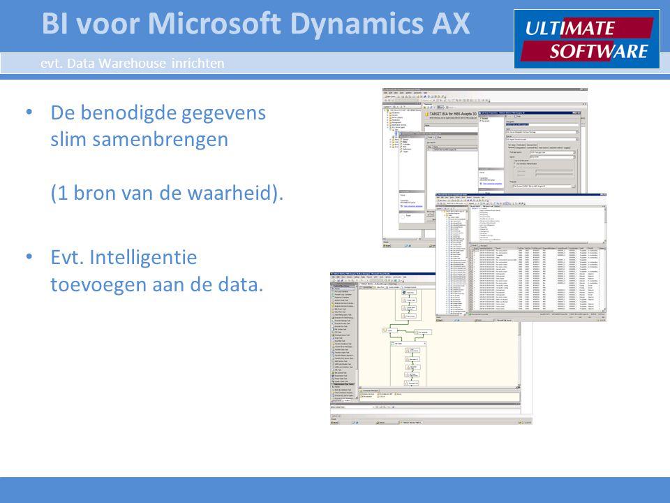 evt. Data Warehouse inrichten De benodigde gegevens slim samenbrengen (1 bron van de waarheid). Evt. Intelligentie toevoegen aan de data. BI voor Micr