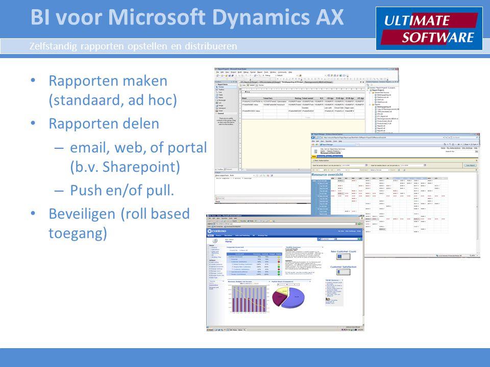 Zelfstandig rapporten opstellen en distribueren Rapporten maken (standaard, ad hoc) Rapporten delen – email, web, of portal (b.v. Sharepoint) – Push e