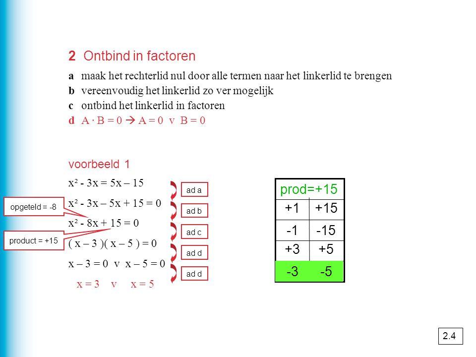 2 Ontbind in factoren amaak het rechterlid nul door alle termen naar het linkerlid te brengen bvereenvoudig het linkerlid zo ver mogelijk contbind het