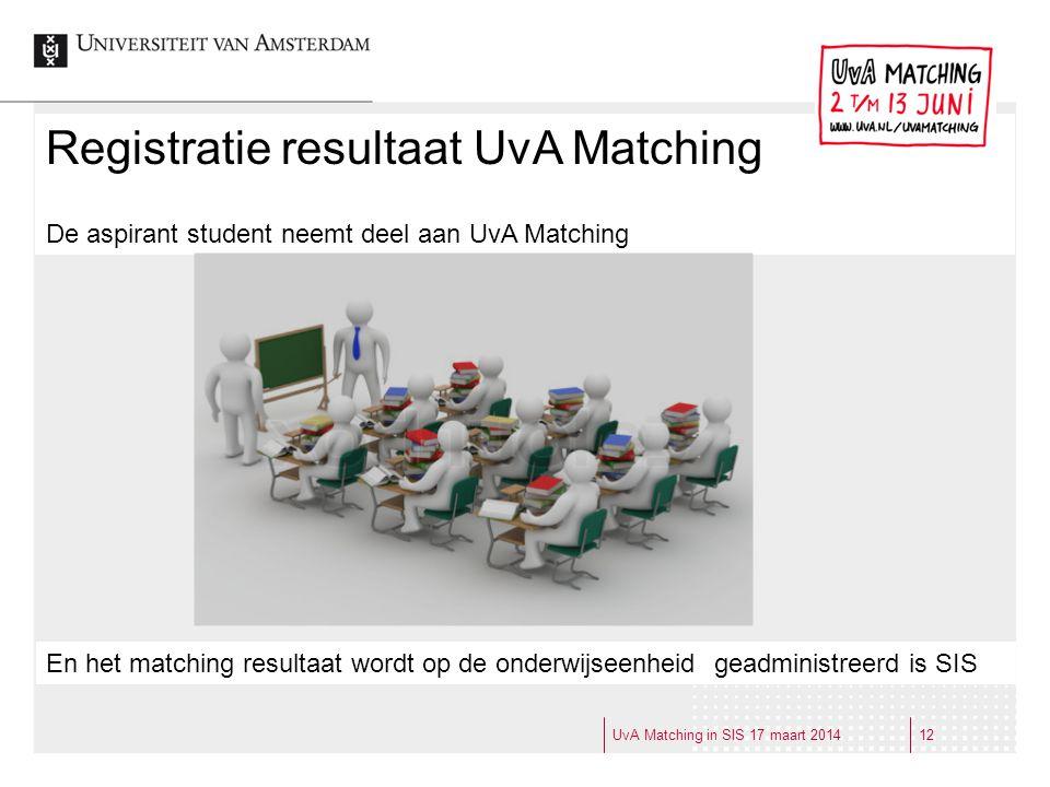 Registratie resultaat UvA Matching De aspirant student neemt deel aan UvA Matching En het matching resultaat wordt op de onderwijseenheid geadministre