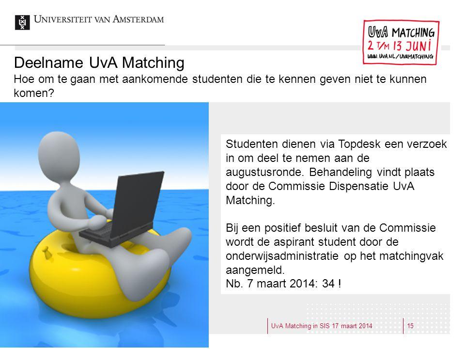 Deelname UvA Matching Hoe om te gaan met aankomende studenten die te kennen geven niet te kunnen komen? Studenten dienen via Topdesk een verzoek in om