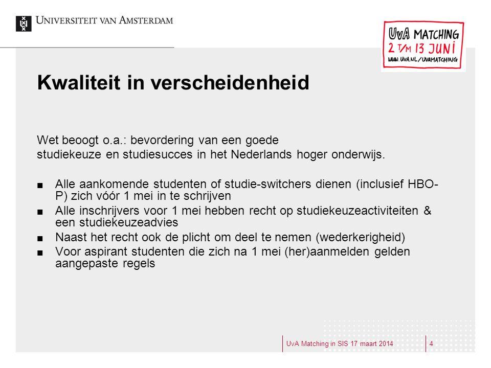 Werkgroep Aanmelding en Registratie en UvA Matching Anneke Wagner (AC) Jetse Duursma (CFB inschrijf) Willy Hogerhuis (CFB Volg) Anfaira Doest (CSA) Ingrid Engelbrecht (LFB FGW) Wendy van der Linden (LFB FMG) UvA Matching in SIS 17 maart 20145