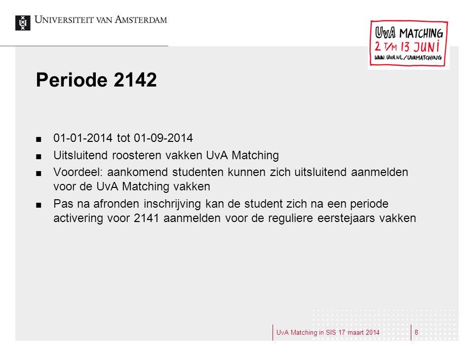 Periode 2142 01-01-2014 tot 01-09-2014 Uitsluitend roosteren vakken UvA Matching Voordeel: aankomend studenten kunnen zich uitsluitend aanmelden voor