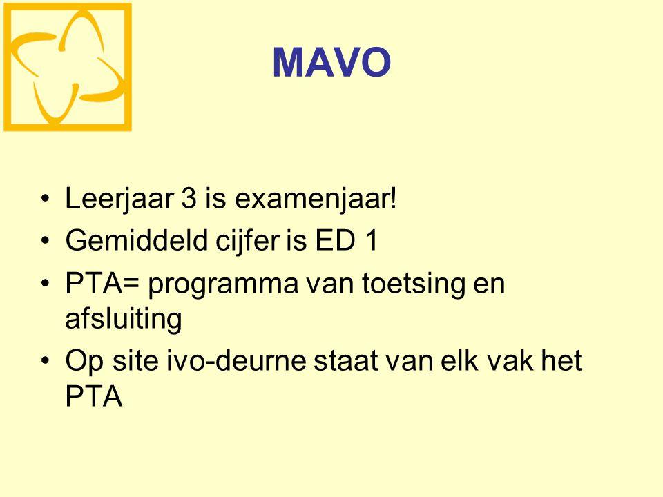 MAVO Leerjaar 3 is examenjaar! Gemiddeld cijfer is ED 1 PTA= programma van toetsing en afsluiting Op site ivo-deurne staat van elk vak het PTA