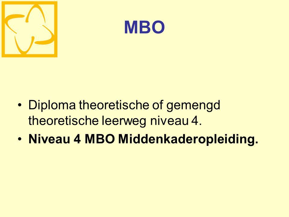 MBO Diploma theoretische of gemengd theoretische leerweg niveau 4. Niveau 4 MBO Middenkaderopleiding.
