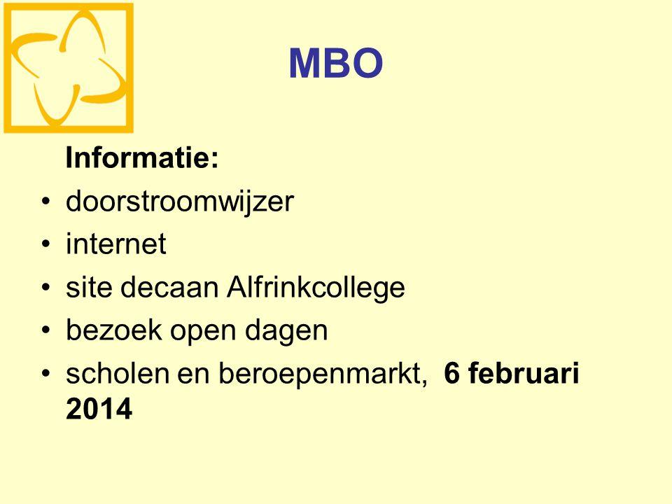 MBO Informatie: doorstroomwijzer internet site decaan Alfrinkcollege bezoek open dagen scholen en beroepenmarkt, 6 februari 2014